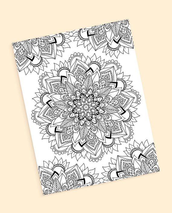 Boho floral mandala coloring page preview