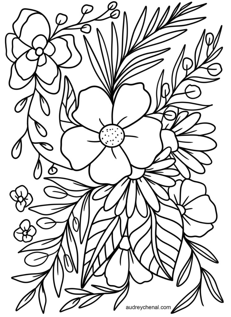 FREE Floral Coloring Page Instant Digital Download