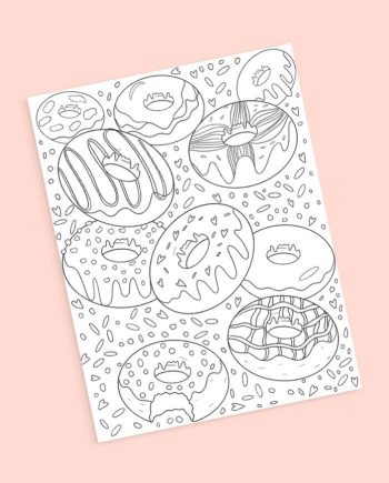 Donuts coloring page preview