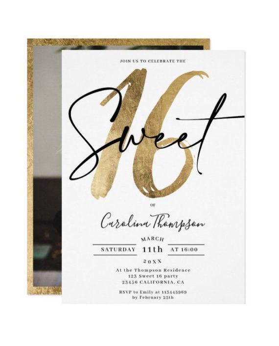 Girly gold border script photo Sweet 16 Invitation