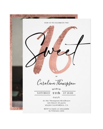 Girly rose gold border script photo Sweet 16 Invitation