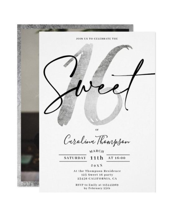 Girly silver border script photo Sweet 16 Invitation