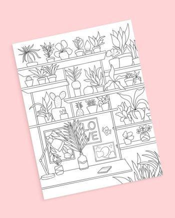 House plants workspace coloring page preview