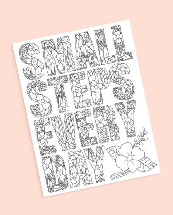 Small steps everyday coloring page preview
