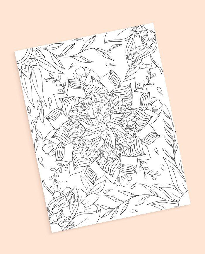 Flower Mandala Coloring Page Printable Pdf Blank Mandala | Etsy | 867x700