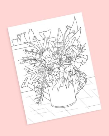 watercan coloring page floral bouquet