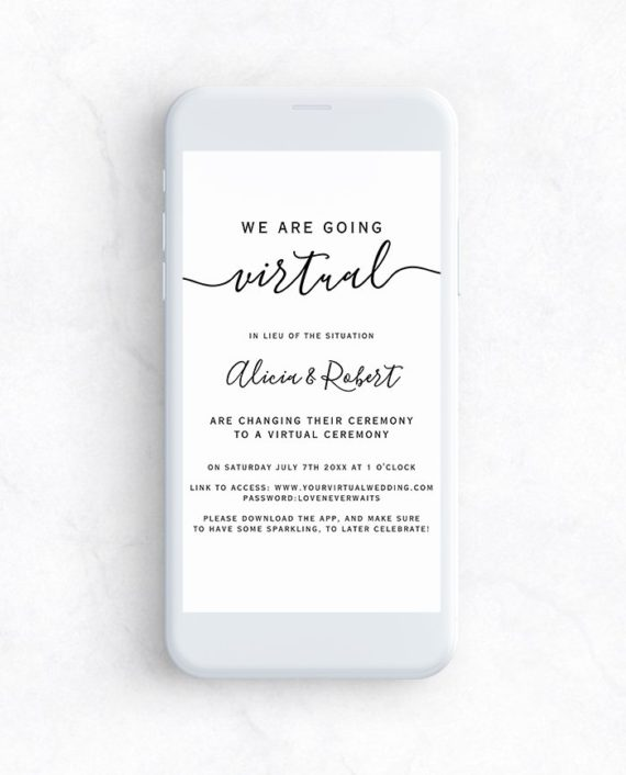 e invite phone mockup virtual wedding