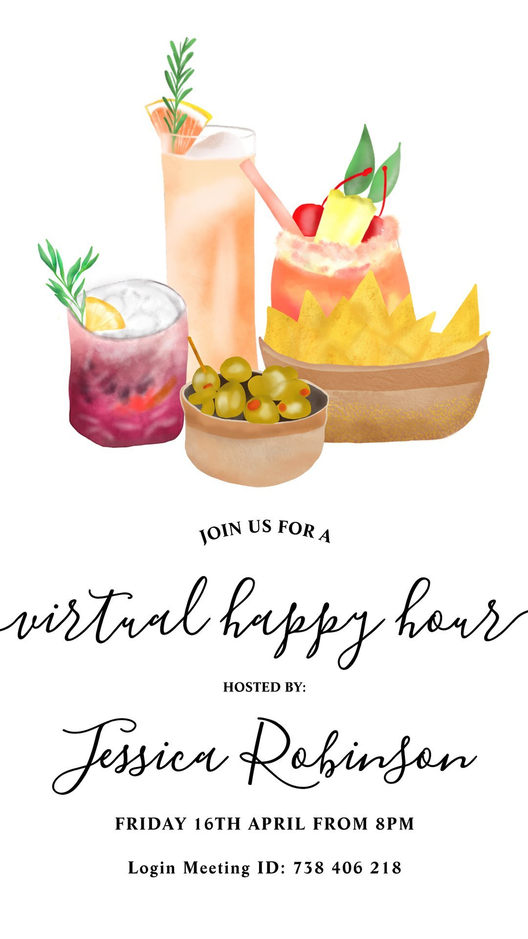 E Invite Snacks Cocktails Watercolor Virtual Happy Hour Invitation