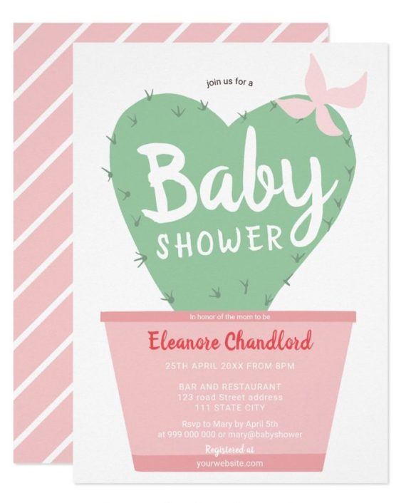 Modern cute green pink cactus heart baby shower invitation
