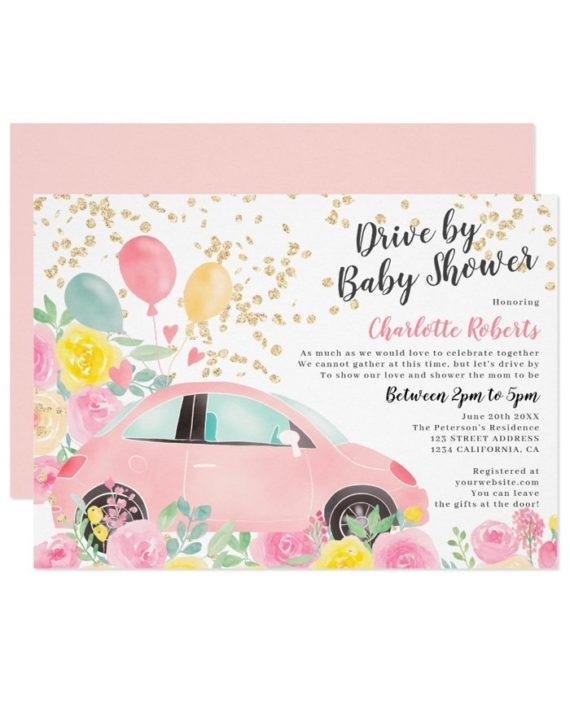 Printable pink yellow floral gold car drive by baby shower invitation