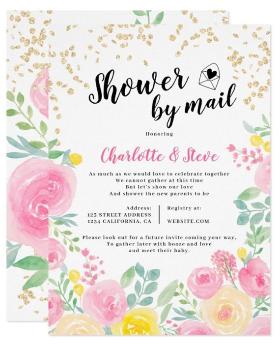 Printable pink yellow watercolor baby shower by mail invitation 2