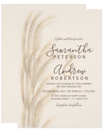 Boho summer pampas grass watercolor wedding invitation printable