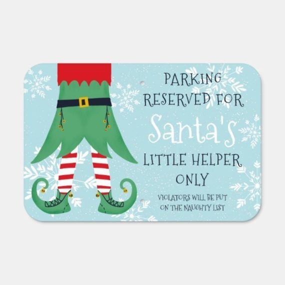 funny_christmas_elf_little_helper_snow_parking_metal_sign