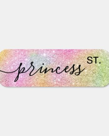 Girly princess st rainbow glitter unicorn sparkles metal sign