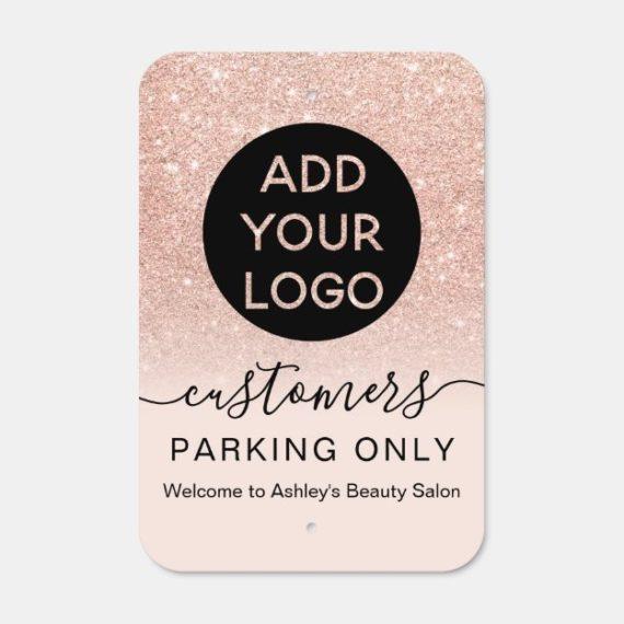 Logo rose gold glitter pink script parking only metal sign