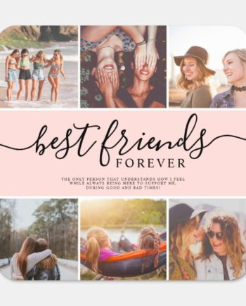 Modern best friends script name photo collage grid metal sign