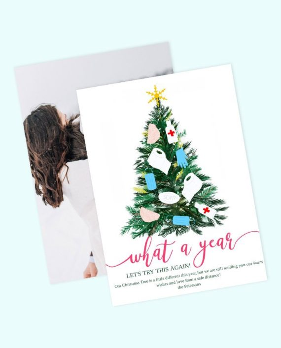 what a year funny covid Christmas tree card