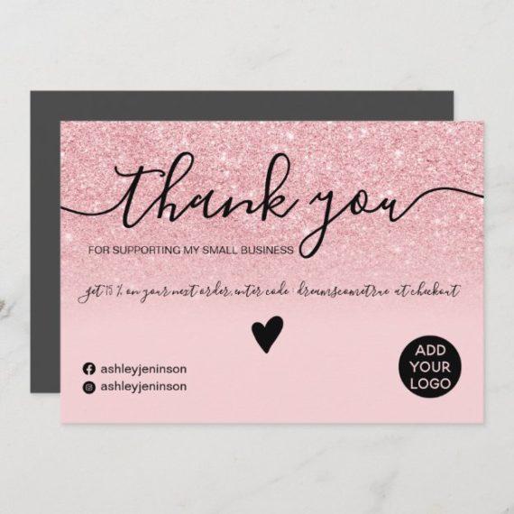 Modern chic pink glitter blush order thank you
