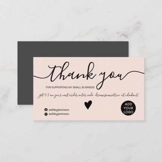 Modern minimalist black and blush pink order thank you business card