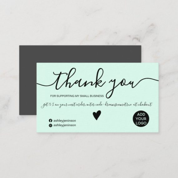 Modern minimalist black and mint green order thank you business card