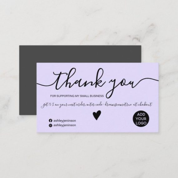 Modern minimalist black and lavender purple order thank you business card