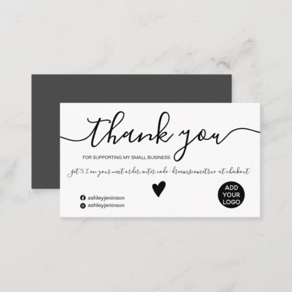 Modern minimalist black and white pink order thank you business card