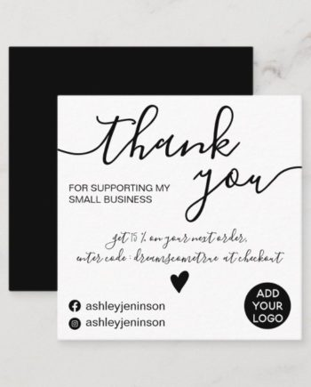 modern_minimalist_black_and_white_order_thank_you_square_business_card-