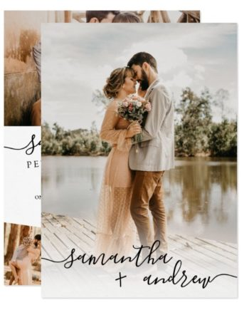 Modern white minimalist script 5 photos collage wedding invitation