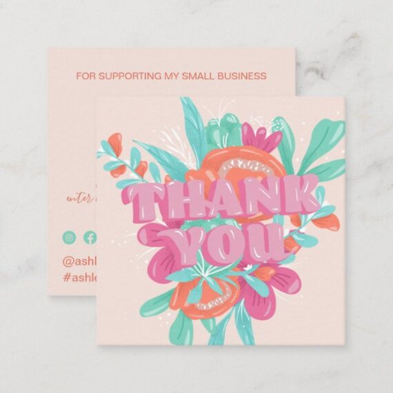 Spring pink floral retro script order thank you square business card