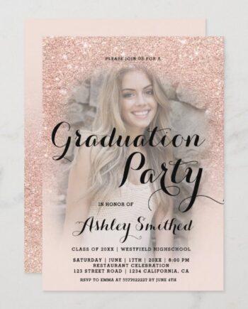 Modern rose gold glitter ombre photo graduation invitation