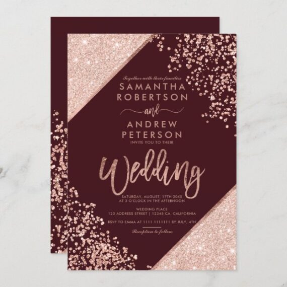 Rose gold glitter confetti chic burgundy wedding invitation