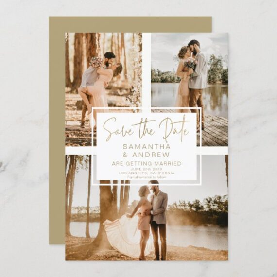 Simple gold save the date 3 photo grid collage announcement