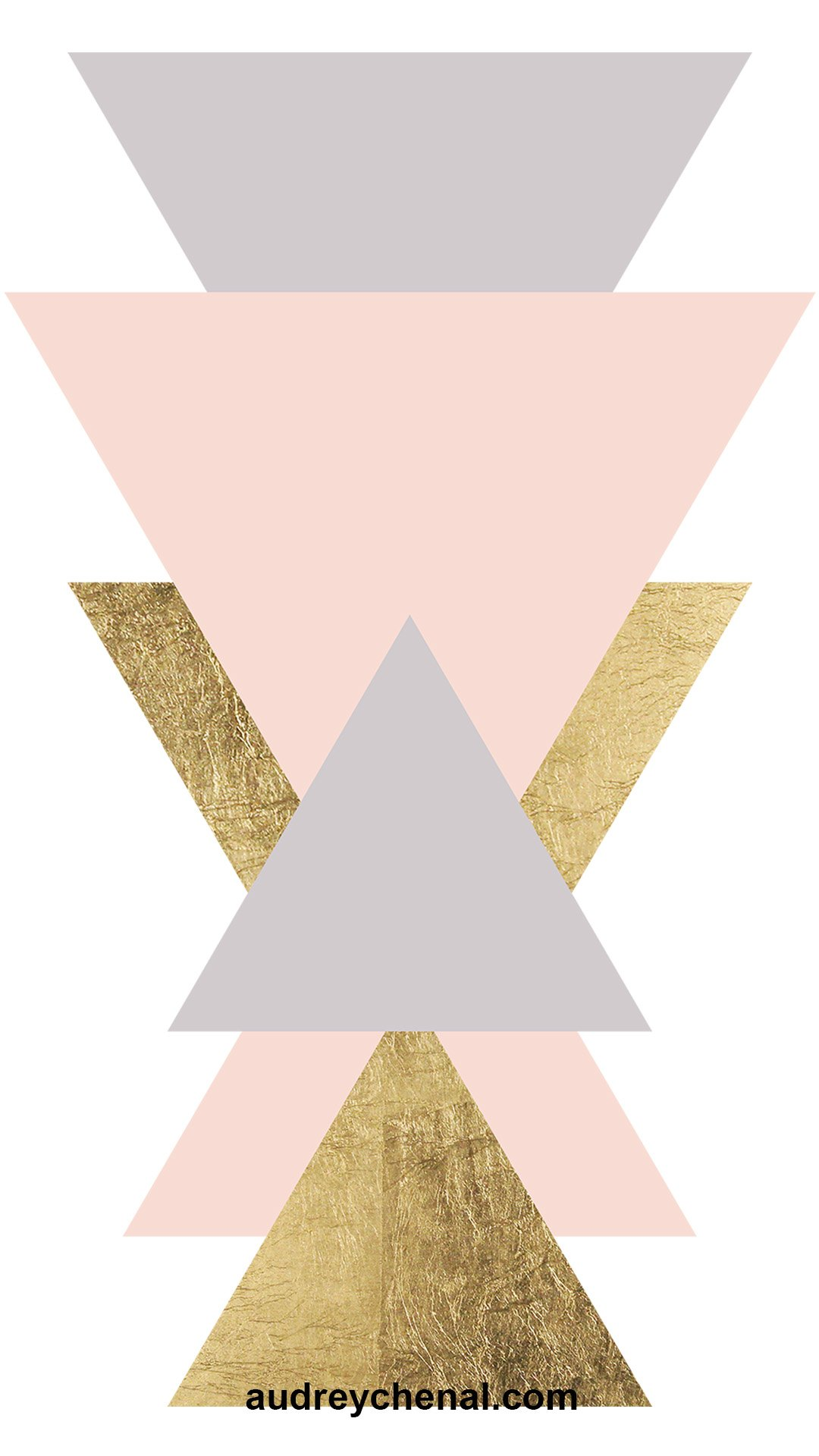 free wallpaper geometric blush gold foil triangles by Audrey Chenal